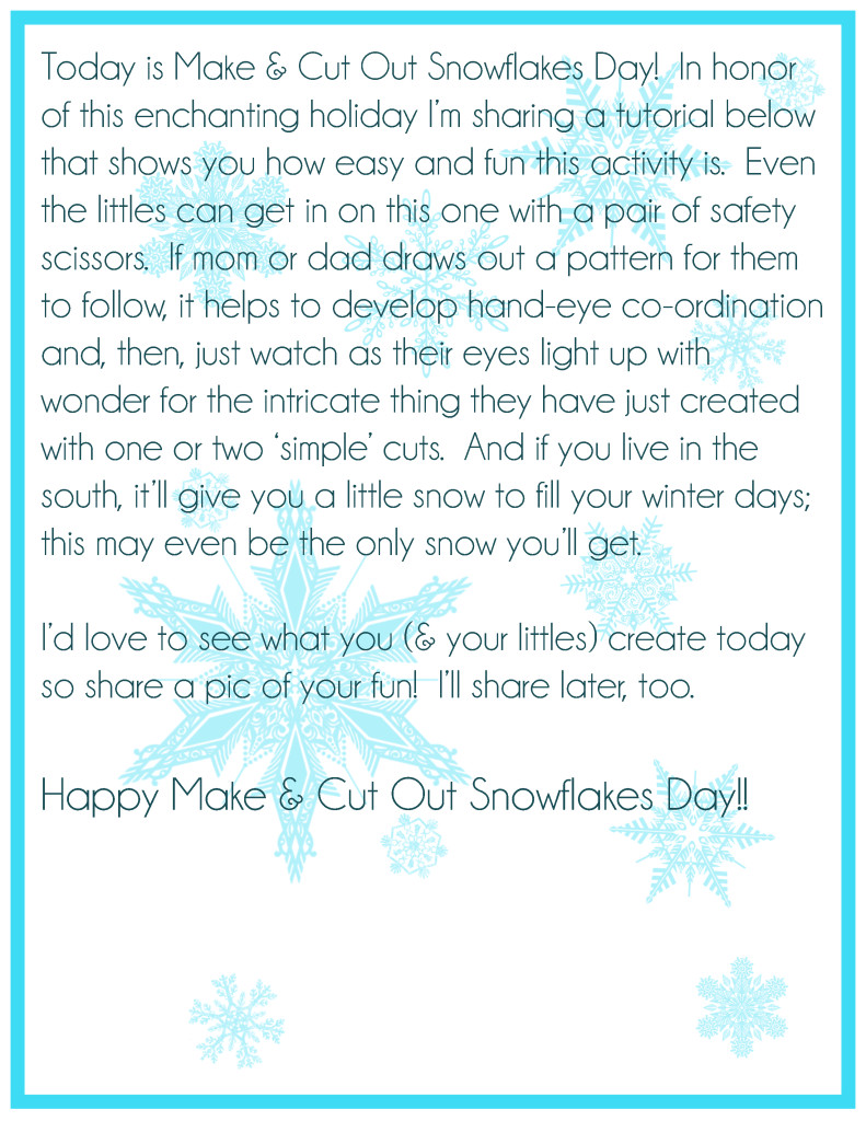Make and Cut Out Snowflakes Day